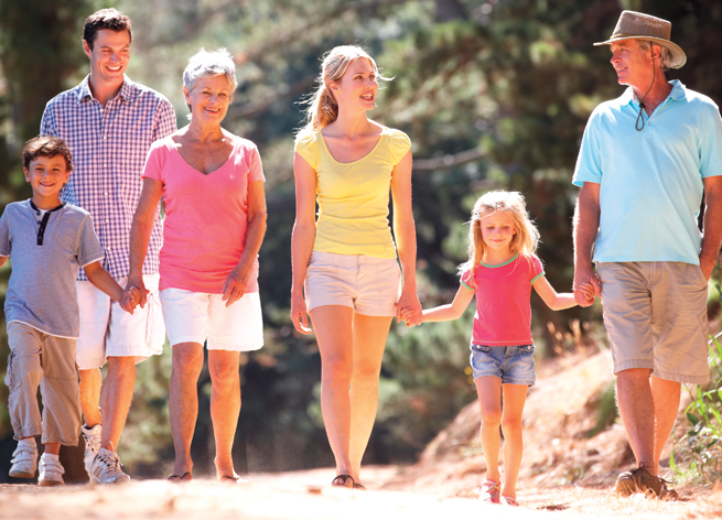 family-hiking-walking-parents-children-grandparents-summer